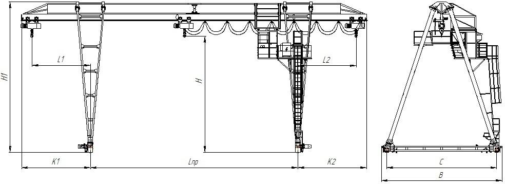 Краны козловые однобалочные , управление из кабины, режим работы А3