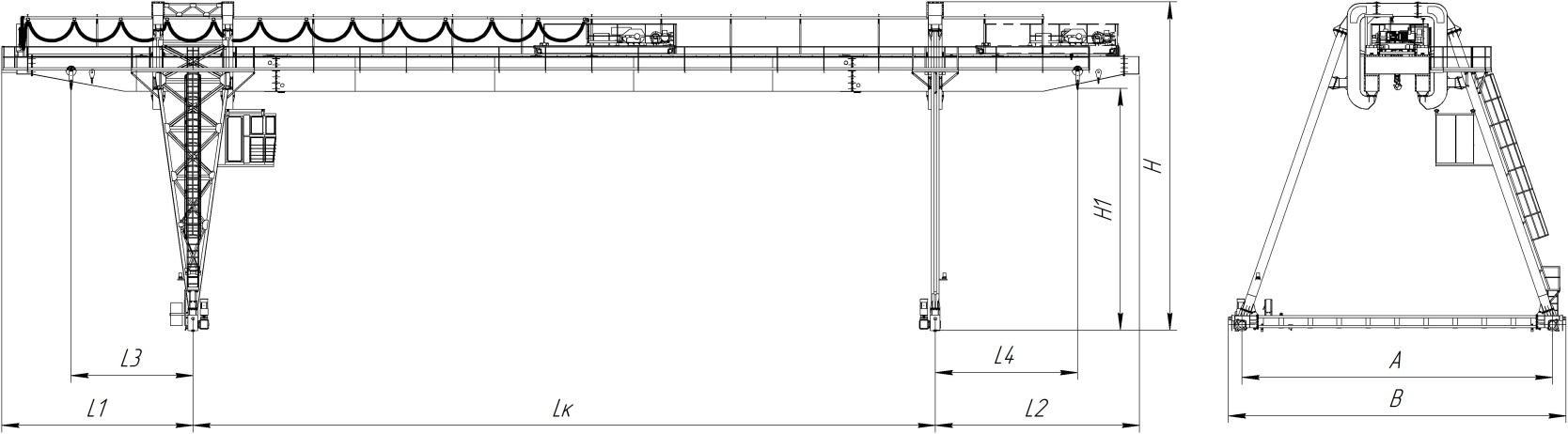 Краны козловые двухбалочные , управление из кабины, режим работы А5