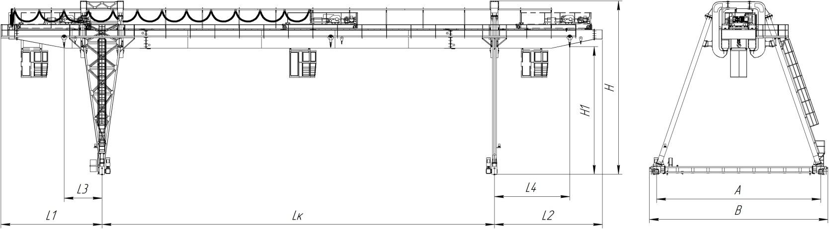 Краны козловые двухбалочные , управление из подвижной кабины, режим работы А6